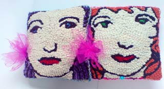 'Flora and Mabel' - hooked baby cushions