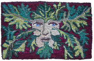 leaf green man   - rug